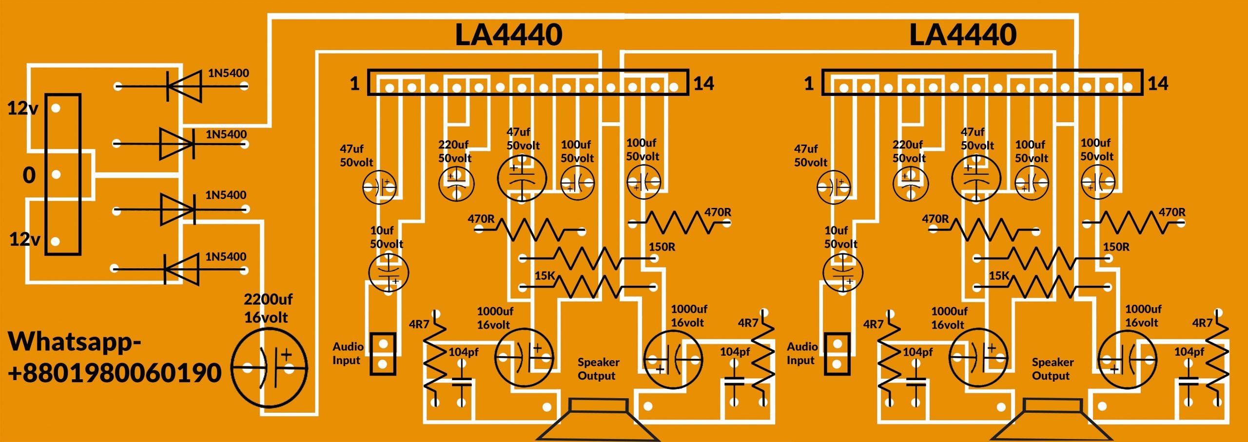 LA4440 stereo amplifier circuit