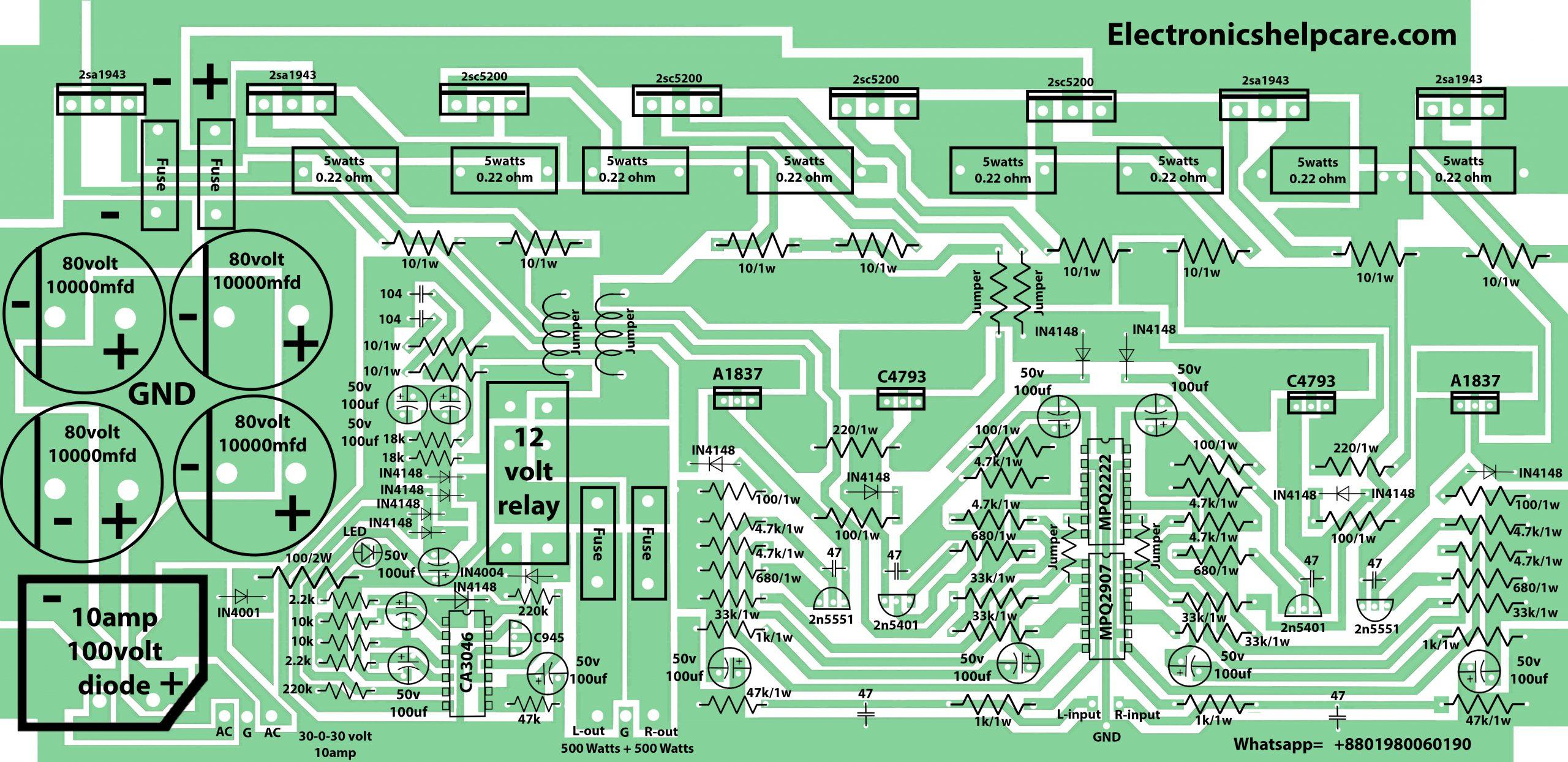 1000 watts amplifier circuit diagram using 2sc5200 and 2sa1943