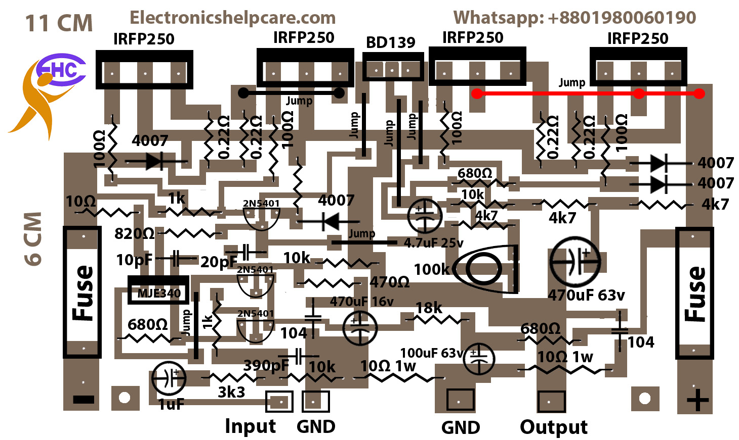 MOSFET Amplifier 200W using IRFP250N Front with symbol